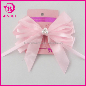 Hair Accessory Clip Hair Clip Bow:YiWu Yilibei Simple White Metal Hair Clip With Pink Fabric Bow And Ribbon For Kid