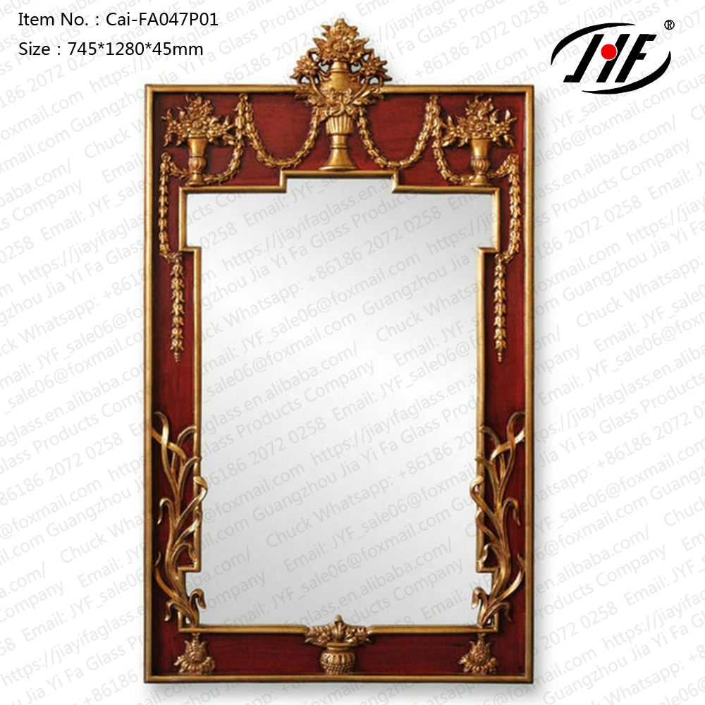 Cai-FA047P01 Creative designed diamond shaped metal framed decorative wall mirror for home decoration