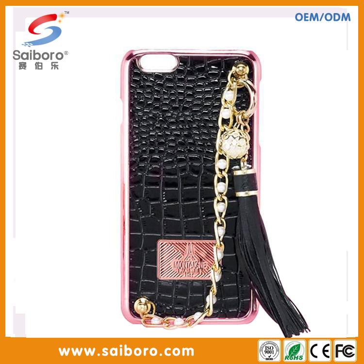 Faux Leather Cell Phones Cases with Detachable String Strap for iPhone 6plus