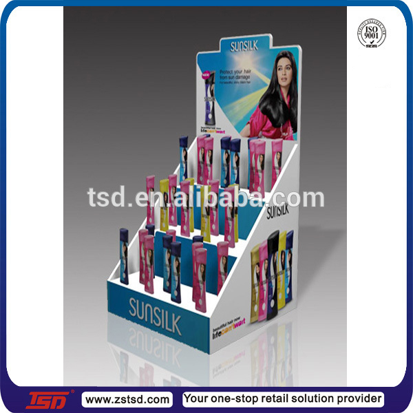 TSD-A852 shopping mall tabletop pop shampoo display/acrylic shampoo counter display/sample lucite counter display for shampoo