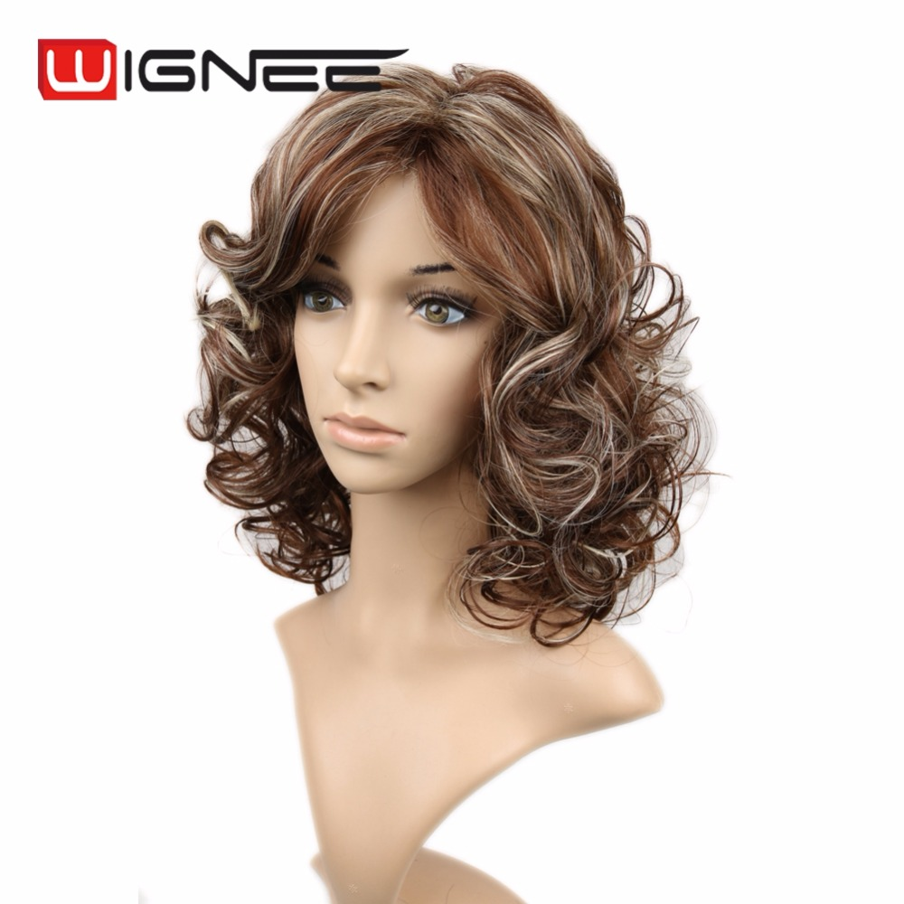Mixed Blonde Brown Color Wig <strong>16</strong> Inch Curly Medium Length Synthetic Hair Wigs With Bangs