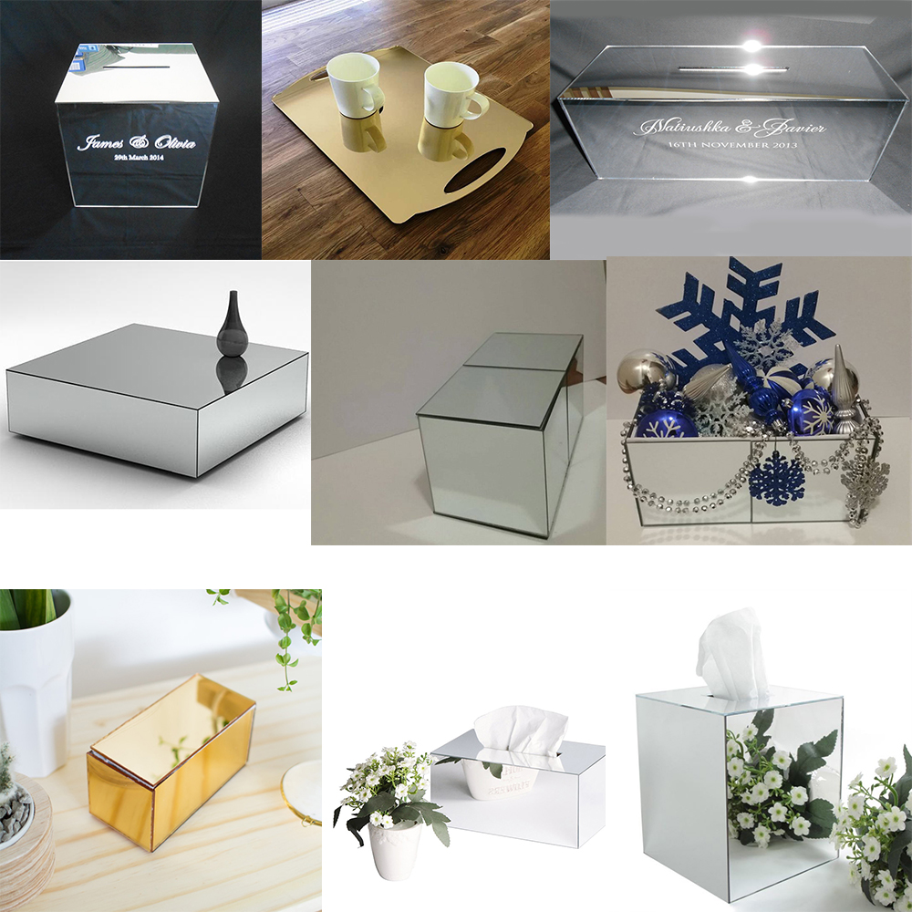 Acrylic silver mirror flower box with lid Without Flowers