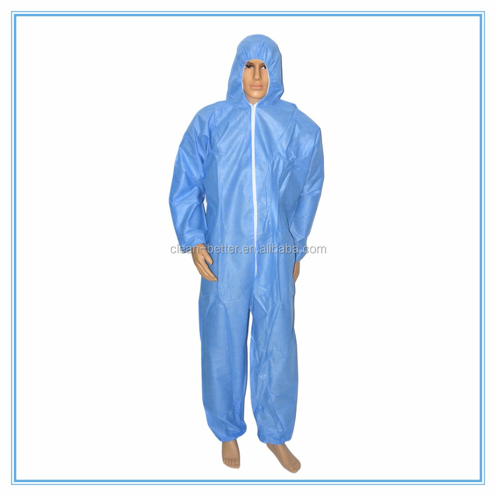 Factory use blue disposable PP non woven protective safety working coverall