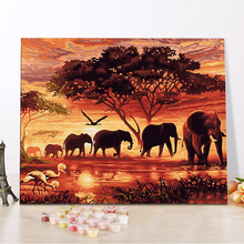CHENISTORY DZ1019 Oil Diy Paint By Numbers Sunset And Elephants With Frame