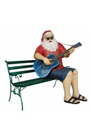 RESIN SANTA CLAUS WITH GUITAR SITTING ON BENCH