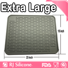 "RJSILICONE 23""x18"" Extra Large custom drying mats wine glass kitchen sink protector mat silicone dish drying mat"