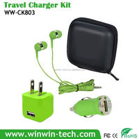 Charger Combo Kits 5V1A Single USB Cube Wall Charger for Mobile Devices