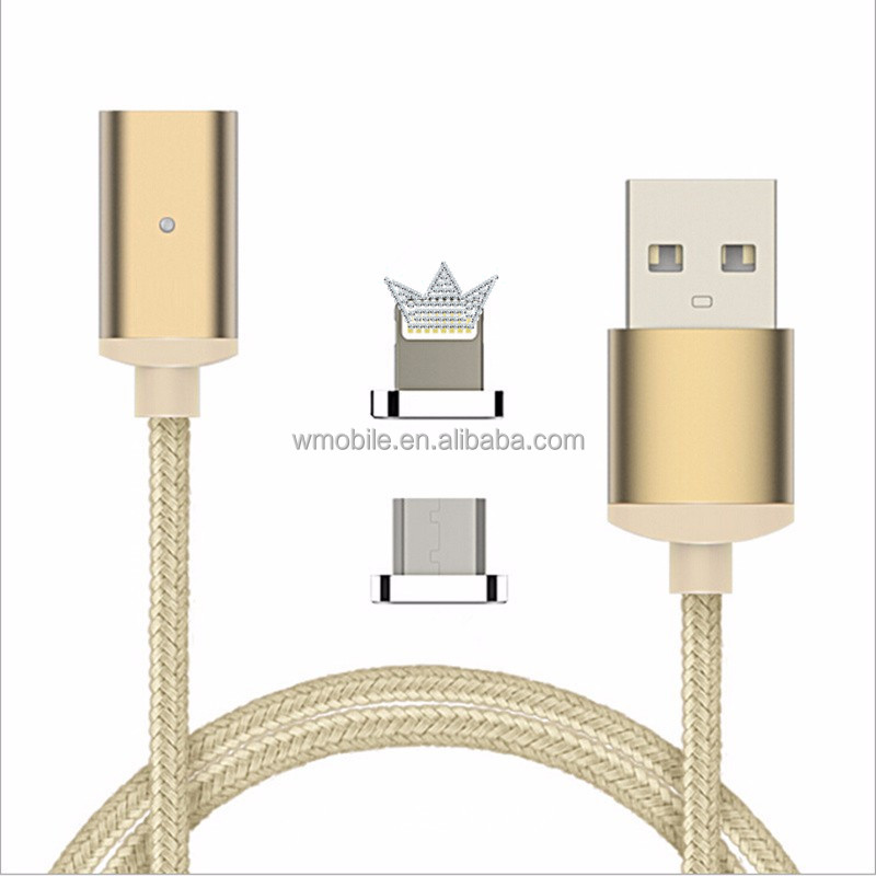 Nylon Braided USB Charger 2 in 1 Magnetic Micro USB Cable For iPhone7