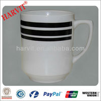 Promotional Items China / Handmade Ceramic Cheap Coffee Cups Wholesale / Black Line Decorated Tableware Drinkware Mugs