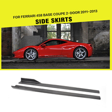 VEL Style Carbon Fiber Car Side Skirts for Ferrari 458 Base Coupe 2-Door 11-13