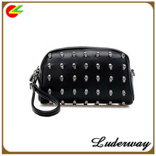 wholesale Studded Skull private label cosmetic bags with compartments