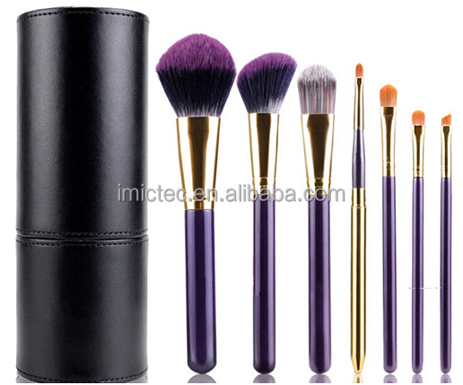 Cruelty Free travle makeup brush set, vegan nylon hair mini makeup brush set, Purple mini makeup brush set with cylinder case