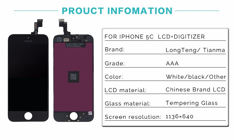 100% tested before shipping Cold Press Frame mobile phone lcd screen for iphone 5c