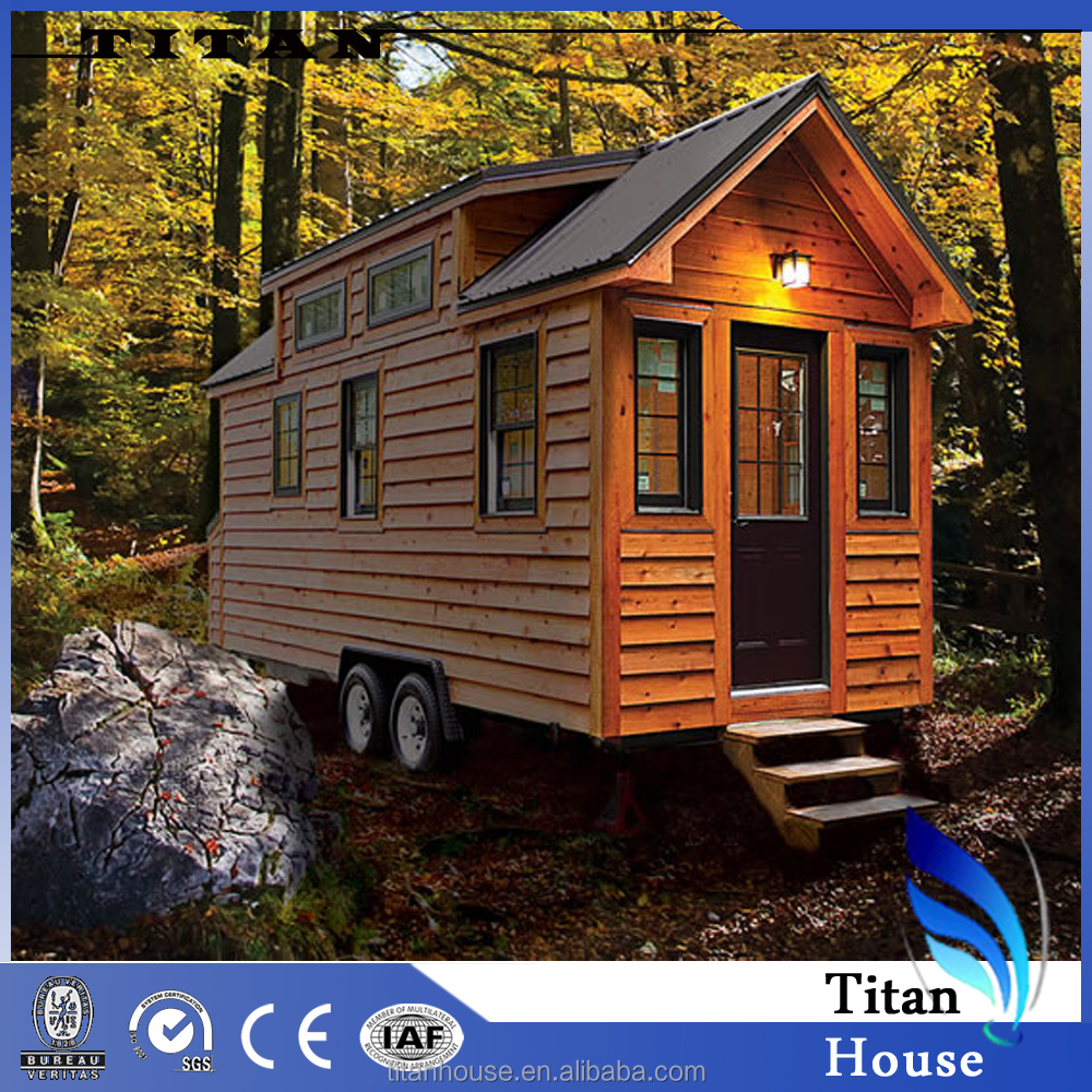 Prefab Steel Wood Tiny Trailer Mini Home