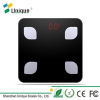 White/Black Customized 150kg/330lbs New Glass Design Digital Fat BMI Electronic Bathroom Scale With Bluetooth