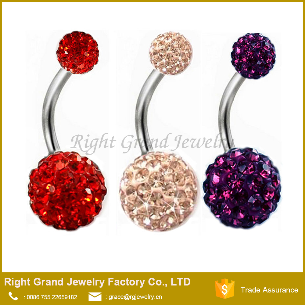 Fashion Shamballa Crystal Rhinestones Belly Button Body Red Purple