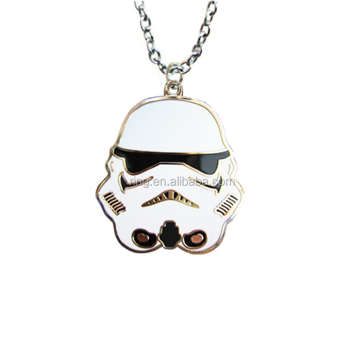 2016 New High Quality Movie Jewelry Pendant Necklace White Storm Trooper Mask Necklace For Women And Men