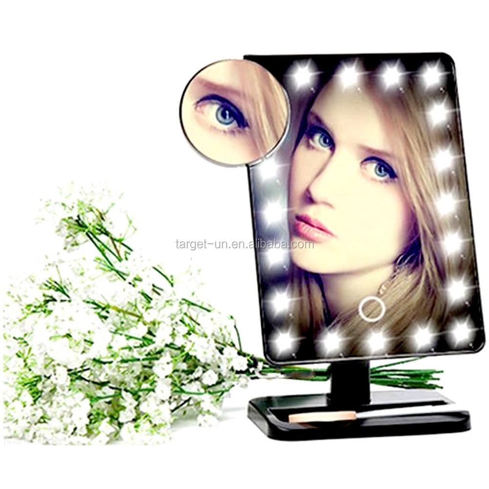 NEW Lighted Makeup Cosmetic Vanity Mirror Table Top LED Touch Screen Movable 10X mirror