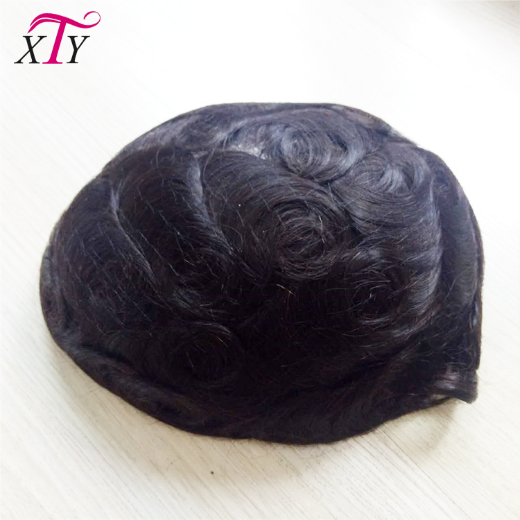 Custom toupee pu base hair system 100% indian remy human hair curly men hair toupee natural black