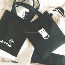 cute cat portable canvas bag,Simple black and white canvas bag