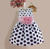 cube rose flower princess dresses classic sleeveless black and white ruffles dress party frock for girls