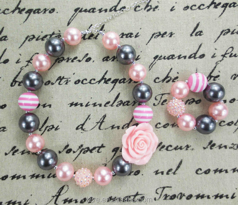 Hotsale Grey/Pink Baby Bubblegum Necklace and Bracelet Sets