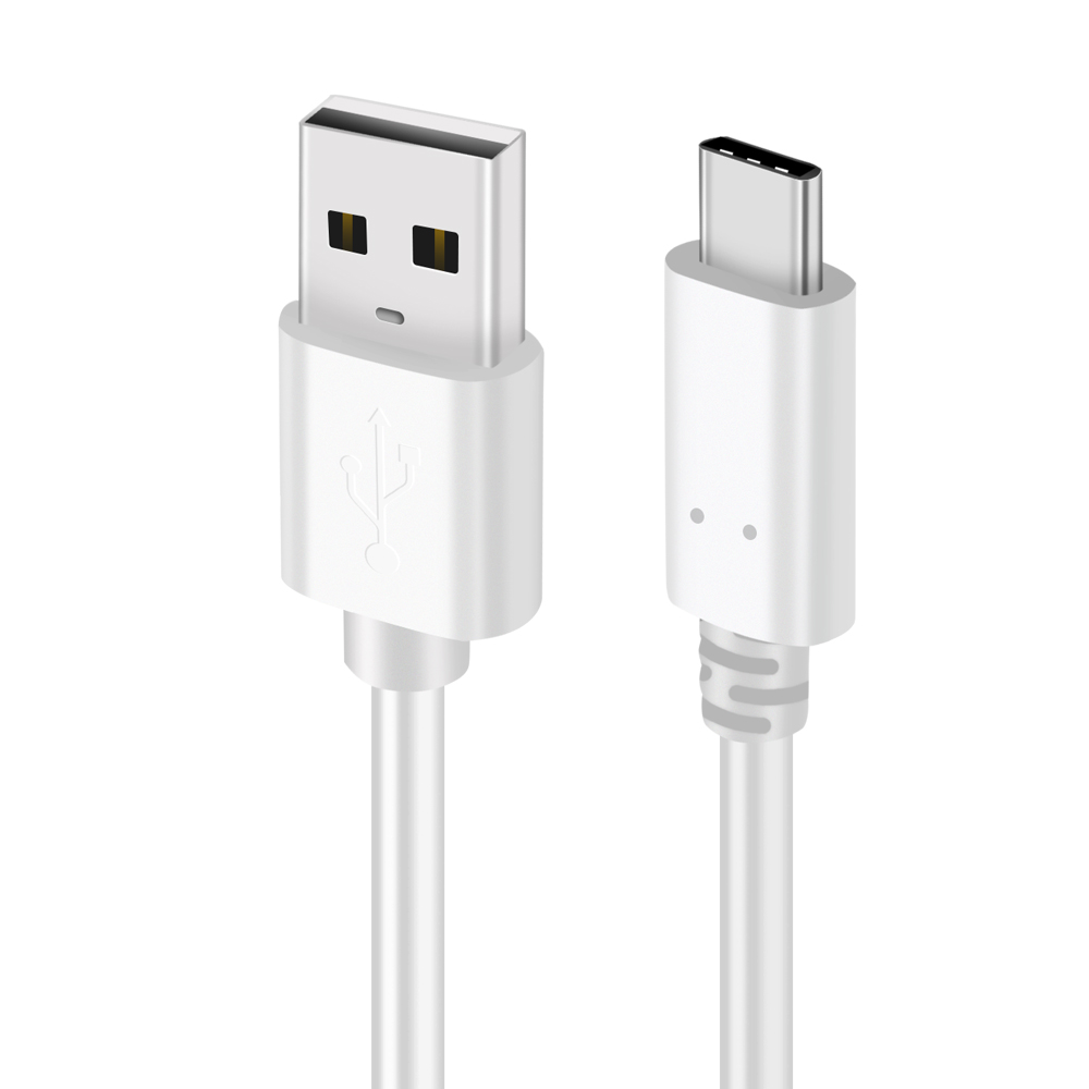 White USB-C to USB-A 2.0 Cable,Type C Charging and Data Transfer 1M