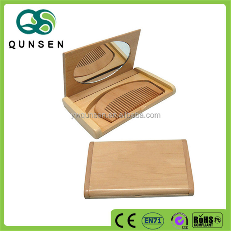 Hot selling cheap mini comb set wooden compact mirror