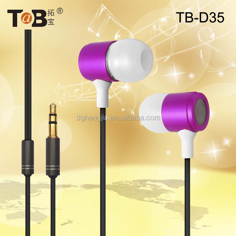 Hot Sale Mobile Phone Earphone Metal Earphone with 3.5mm Audio Connector Wired Earphone with Round Cable