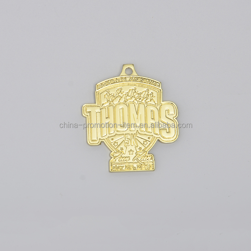 Custom 5k running race trophy shaped gold medals with logo