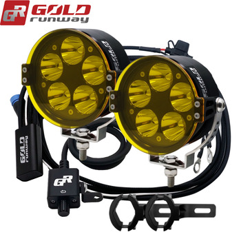 GOLDRUNWAY Motocycle Lights 50W Fully dimmable 3 strobe mode LED Auxiliary Fog Light Driving Lamp For BMW R1200GS/ADV