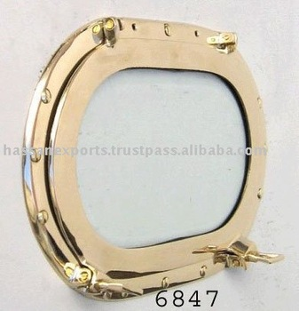 Nautical Brass Porthole Mirror Oval Plain Polish