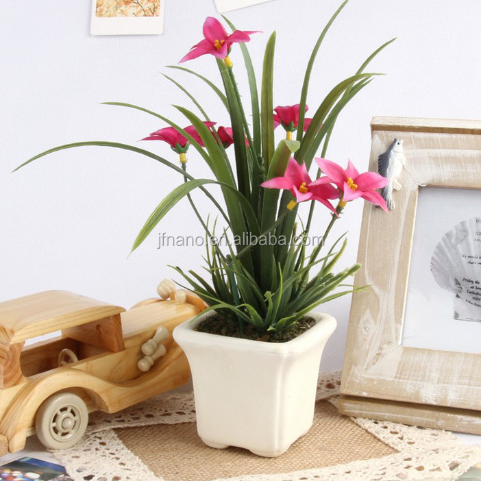 New design home table decor silk flowers small artificial potted orchids