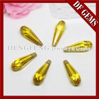 Lab Created Drop Shape Shining Yellow Colored CZ Stones