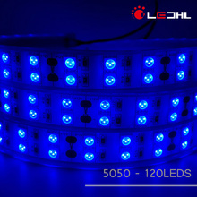 New SMD 5050 120 leds/m Silicone Tube Waterproof Double Row Blue color Led Strip light 5050 IP68