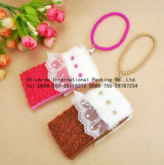 beautiful velvet mobile phone bag,cell phone pouch for girls