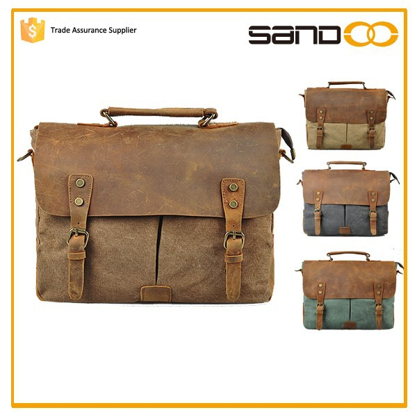 China wholesale canvas business bag, custom men handbag messeng bag