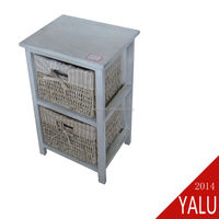 Eco-friendly cheaper wooden cabinet furniture with maize basket H-130901