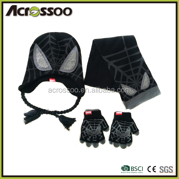 Cool kids acrylic printing knitted hat scarf gloves set