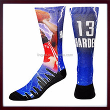 OEM Service Supply Type L Size Tie Dye Sublimated Socks, Adult Men Crew Polyester Sublimated Socks Man
