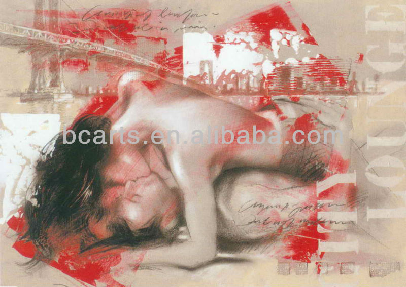 Figurative Women and Men Passionate Hot Sex Kiss Oil Paintings
