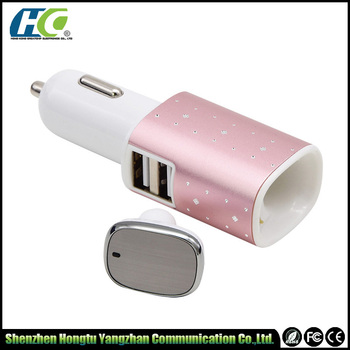TEMPLATE 2016 Newest Car Charger + Bluetooth headphone 2 in 1 Dual USB Port Car Charger with Wireless Earphone bluetooth
