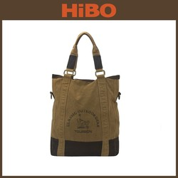 TOURBON vintage casual washed canvas shoulder tote women's bag