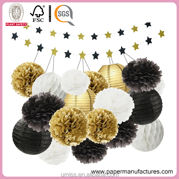Party Favor Event Mixed Gold Black White Color Paper Round Lanterns Paper Pom Poms Party Decoration Paper Honeycomb Ball