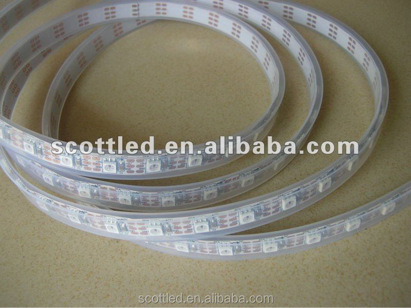 WS2811 led pixel strip 60leds/m,DC5V IP67 White PCB 4m/reel,with 60pcs WS2811 built-in the 5050 smd rgb led chip