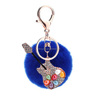2017 Guita Women Pendant Fur Pompom Keychain Rhinestone Bag Charm Fur Ball Key Chain