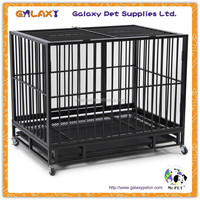 wholesale powder coated metal wheeled portable dog cage(factory in guangzhou); large metal dog cage; pet cage