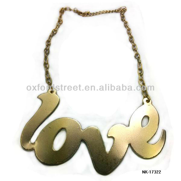 Bold love letter golden alloy necklace of trend desins for women