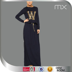 2016 Hot Sale Golden Sequins printing Sport Robes And Wholesale Muslim Clothing with Round Neck Black Dubai Dress