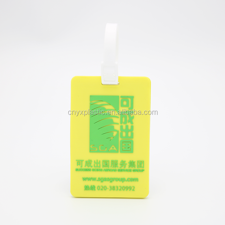 Advertising photo luggage tags rubber baggage tag schoolbag tag with debossed or embossed printing logo